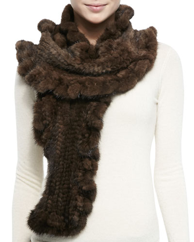 Gorski Knit Mink Fur Ruffle Scarf, Brown