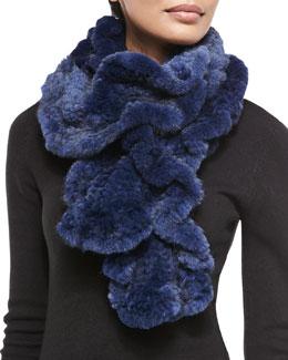 Gorski Knit Mink Fur Ruffle Scarf, Navy
