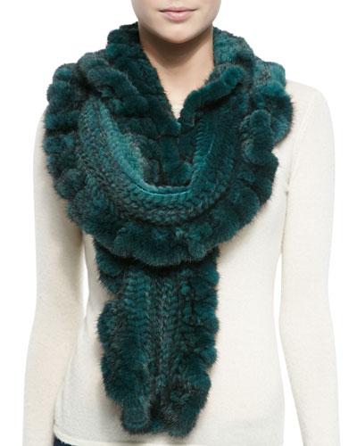 Gorski Knit Mink Fur Ruffle Scarf, Emerald