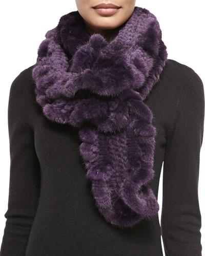 Gorski Knit Mink Fur Ruffle Scarf, Violet