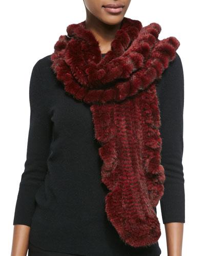 Gorski Knit Mink Fur Ruffle Scarf, Red