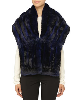 Gorski Chinchilla Fur Shawl, Navy