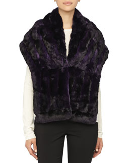 Gorski Chinchilla Fur Shawl, Dark Purple