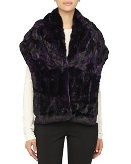 Gorski Chinchilla Fur Shawl, Dark Purple