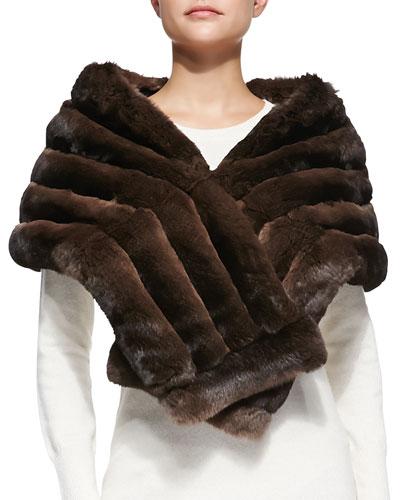 Gorski Chinchilla Fur Shawl, Brown