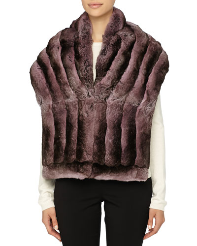 Gorski Chinchilla Fur Shawl, Pink