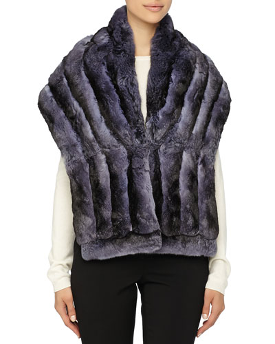 Gorski Chinchilla Fur Shawl, Blue