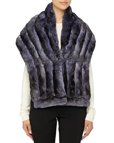 Gorski Chinchilla Fur Shawl, Blue