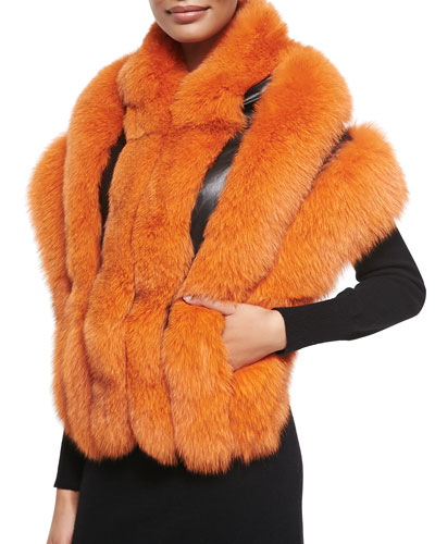 Gorski Leather-Inset Fox Fur Stole, Arancia