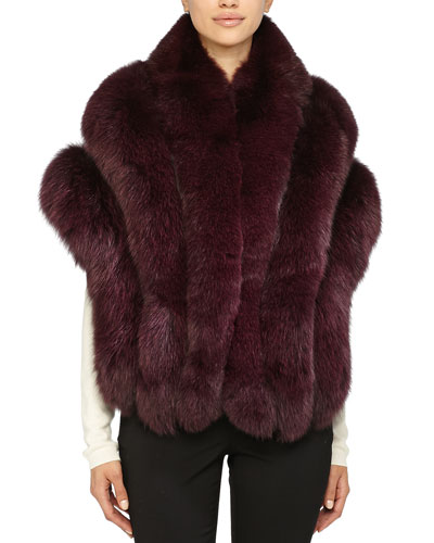 Gorski Leather-Inset Fox Fur Stole, Burgundy
