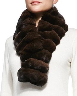 Gorski Chinchilla Fur Scarf, Brown