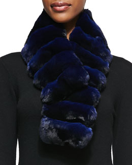 Gorski Chinchilla Fur Scarf, Navy