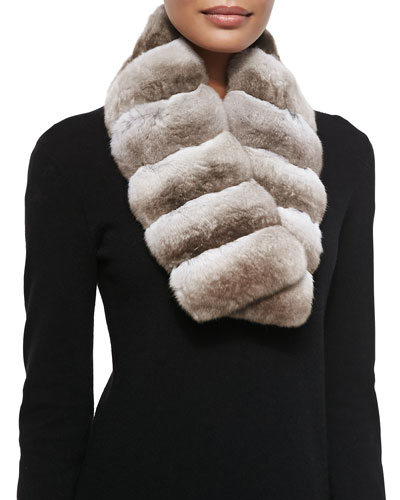 Gorski Chinchilla Fur Scarf, Beige