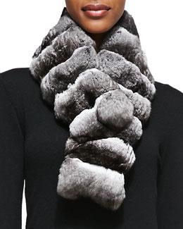 Gorski Chinchilla Fur Scarf, Gray