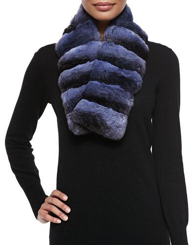 Gorski Chinchilla Fur Scarf, Blue