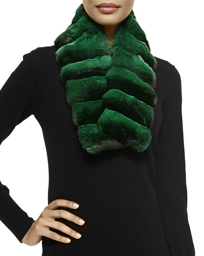 Gorski Chinchilla Fur Scarf, Emerald