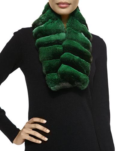 Gorski Chinchilla Fur Scarf, Emerald