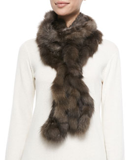 Gorski Ruffled Sable Fur Scarf, Brown