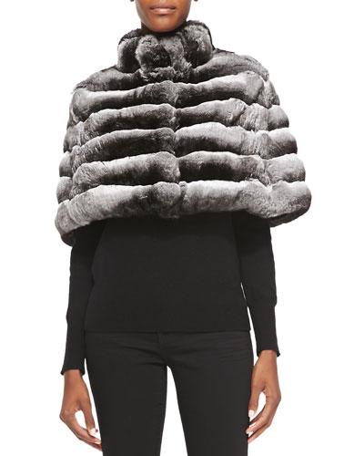 Gorski Chinchilla Fur Cape, Gray
