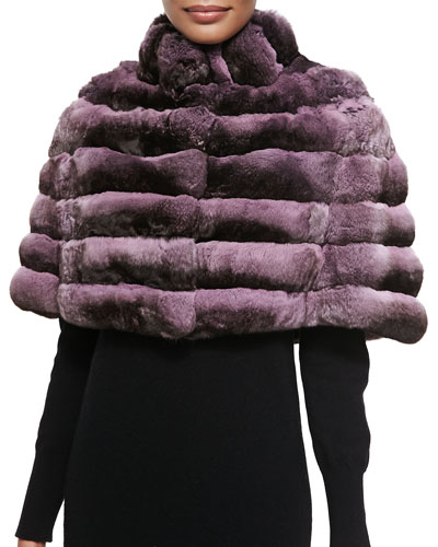 Gorski Chinchilla Stand-Collar Cape, Pink