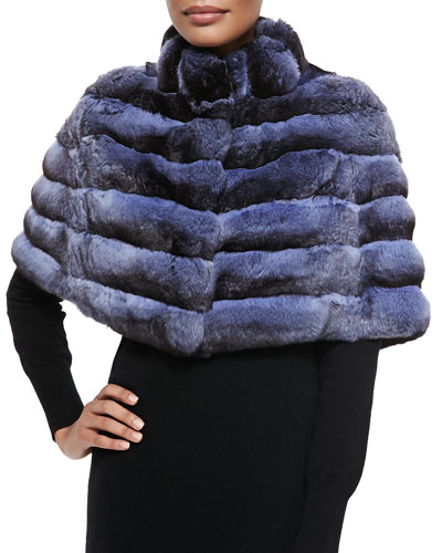 Gorski Chinchilla Stand-Collar Cape, Blue