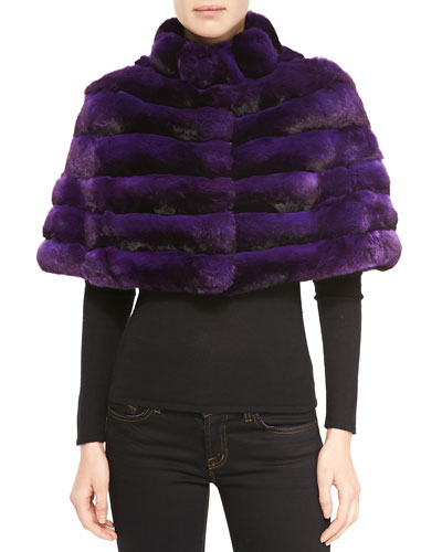 Gorski Chinchilla Stand-Collar Cape, Light Purple