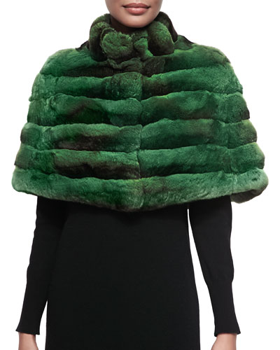Gorski Chinchilla Stand-Collar Cape, Emerald