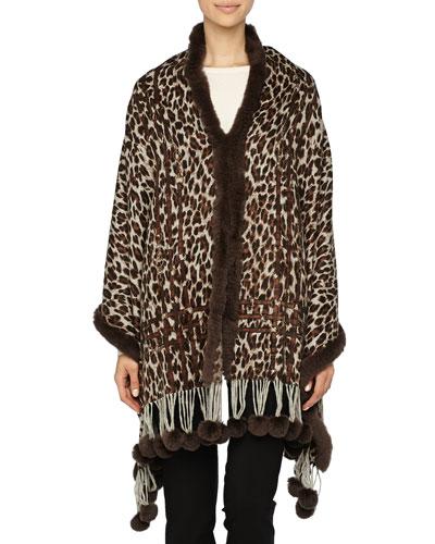 Gorski Reversible Printed Cashmere Stole w/ Fur Trim