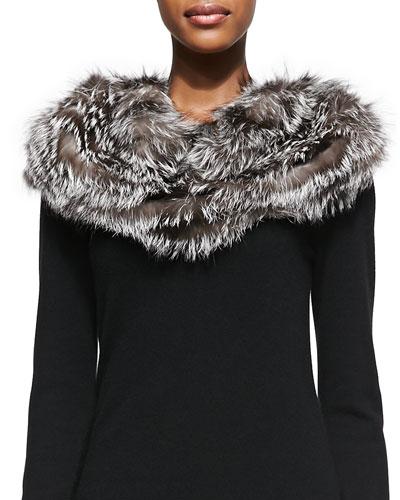 Gorski Layered Fox Fur Cowl Collar, Silver