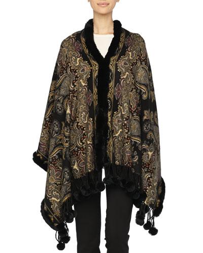 Gorski Reversible Cashmere Stole w/ Fur Trim
