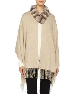 Detachable Fur-Collar Cashmere Stole