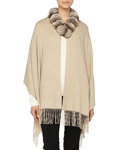 Gorski Detachable Fur-Collar Cashmere Stole
