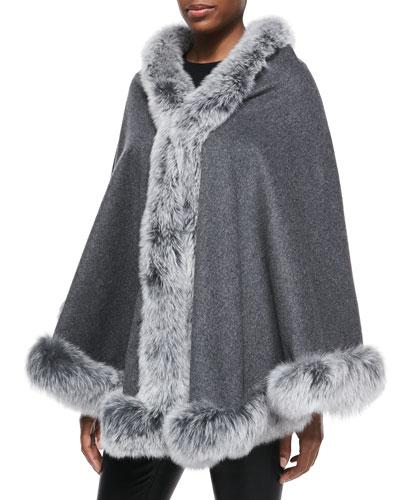 Gorski Fox-Fur-Trim Cashmere Cape, Gray