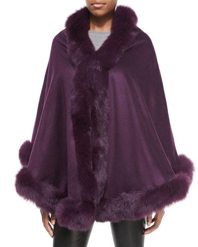Gorski Fox-Fur-Trim Cashmere Capelet, Dark Purple