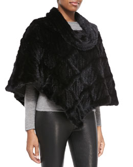 Gorski Lattice-Pattern Mink Fur Poncho