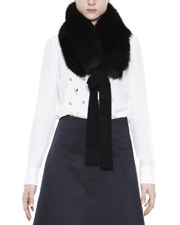 Mantu Fox Fur Collar with Cashmere Ribbon