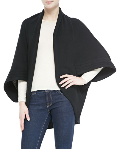 Portolano Cashmere Cardigan with Quilted Sleeves, Black