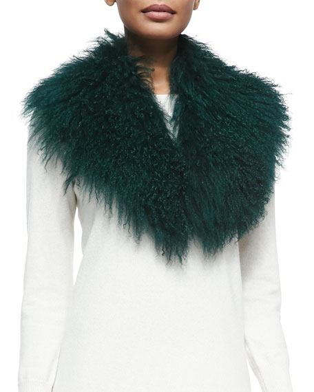Pologeorgis Lamb Fur Collar, Green