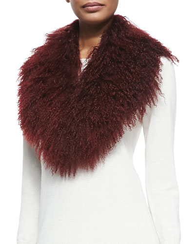 Pologeorgis Lamb Fur Collar, Burgundy