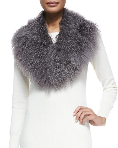 Pologeorgis Lamb Fur Collar, Gray