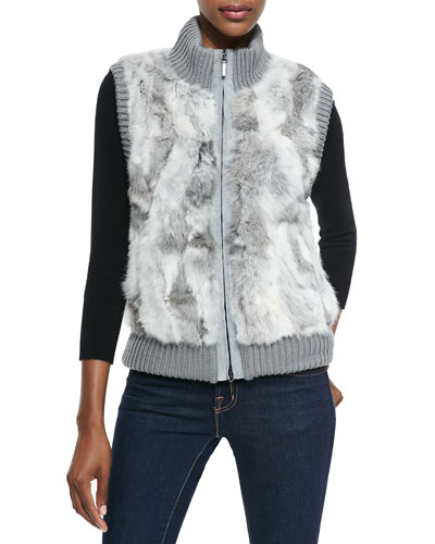 Pologeorgis Rabbit Fur & Knit Patch Vest