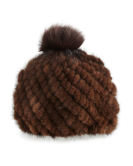 Knitted Fur Hat with Pompom, Brown