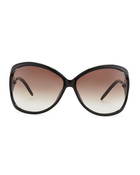 Round Acetate Metal-Temple Sunglasses, Black