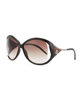 Roberto Cavalli Round Acetate Metal-Temple Sunglasses, Black