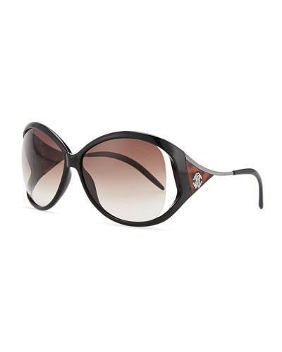 Roberto Cavalli Round Acetate Metal-Temple Sunglasses, Black