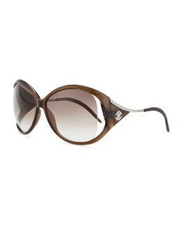 Round Metal-Temple Sunglasses, Transparent Brown