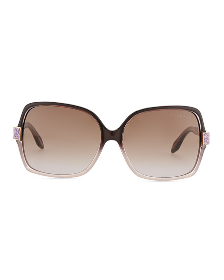 Square Acetate Jeweled-Temple Sunglasses, Purple/Brown