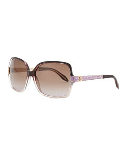 Roberto Cavalli Square Acetate Jeweled-Temple Sunglasses, Purple/Brown