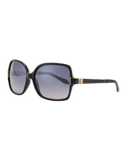 Roberto Cavalli Square Jeweled-Temple Sunglasses, Black