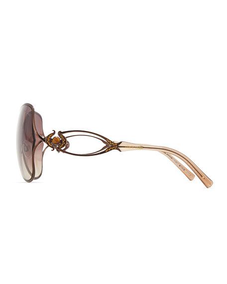 Round Acetate Jewel/Crystal-Temple Sunglasses